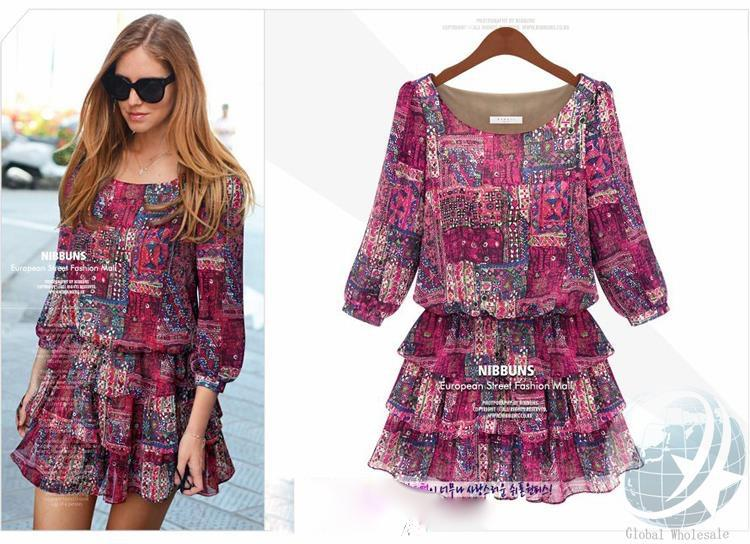 ROBE IMPRIMEE TONS MAUVES BOHO BOHEME CHIC CELEBRITES D0725 42/44
