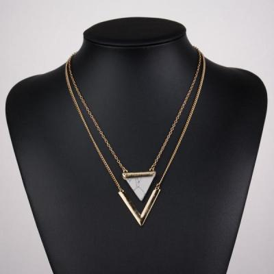 Collier double triangle noir boho boheme chic NECK0793