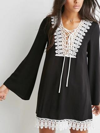 Robe tunique dentelle mousseline boho boheme chic dress0315