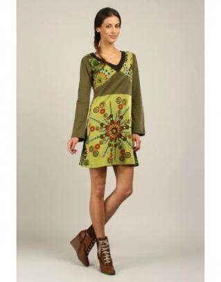 Robe brodée coton tons verts boho boheme chic dress1137