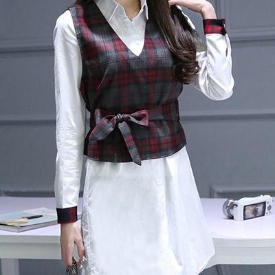TUNIQUE 2 PIECES PLAID + CEINTURE  BOHO BOHEME CHIC F0404