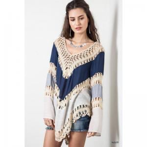 TUNIQUE PONCHO CROCHET BOHO BOHEME CHIC F0197