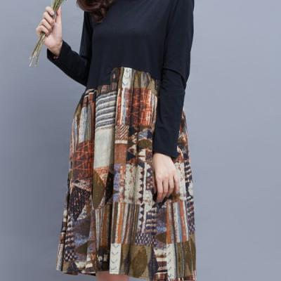 Robe imprimée mi longue 2 en 1 boho boheme chic DRESS1132