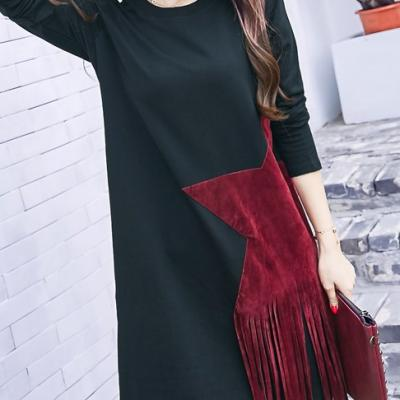 Robe sweat étoile franges boho boheme chic dress1158