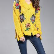 PULL FLEURS BRODEES APPLIQUEES BOHO BOHEME CHIC M0187