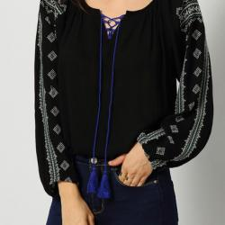 TOP BLOUSE BRODE BOHO BOHEME CHIC F0321