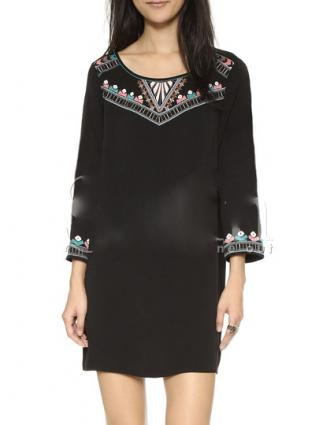Robe encolure brodée boho boheme chic dress0963
