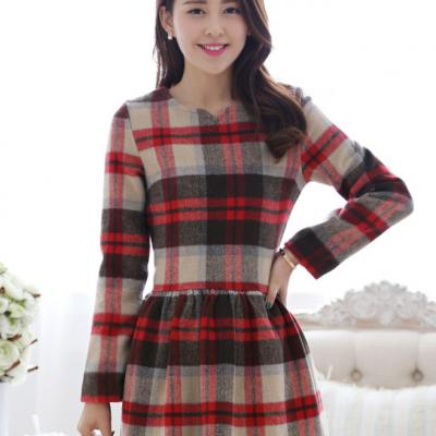 ROBE CARREAUX  PLAID BOHO BOHEME CHIC D0633