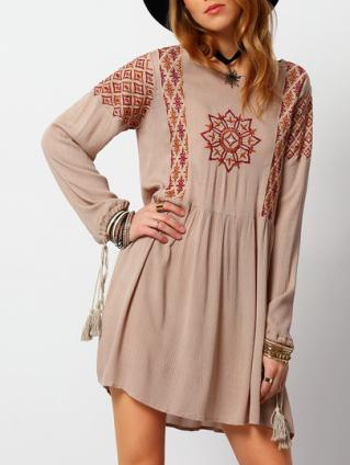 Robe tunique brodée boho boheme chic dress0966