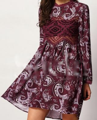 Robe imprimée vintage boho boheme chic dress1097
