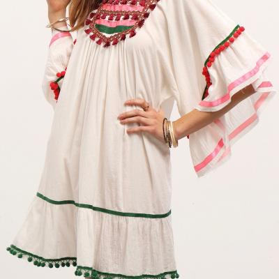 Robe ample pompons boho boheme chic dress1209
