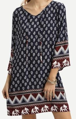 Robe imprimé bas éléphants boho boheme chic DRESS1125