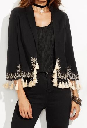 Veste broderies franges boho boheme chic coat0231