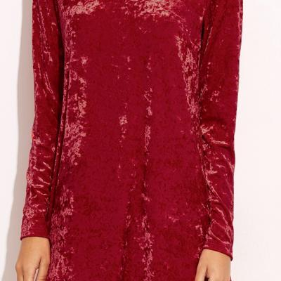 ROBE VELOURS ROUGE BOHO BOHEME CHIC D1155