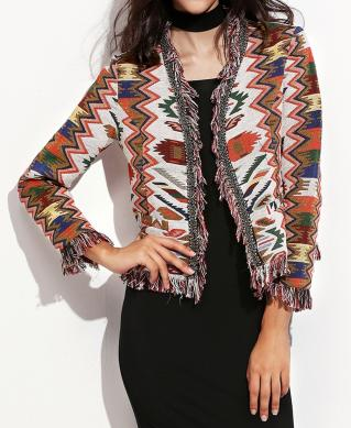 Veste franges imprimé tribal boho boheme chic coat0230