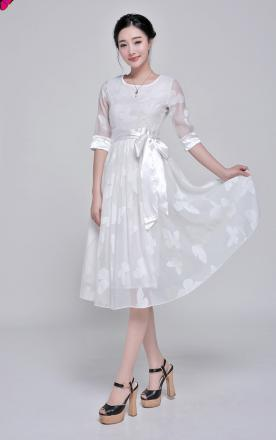 Robe blanche papillons boho boheme chic dress0707
