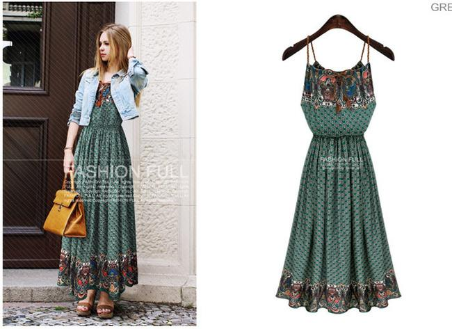 ROBE MI LONGUE CELEBRITES BOHO BOHEME CHIC D0844