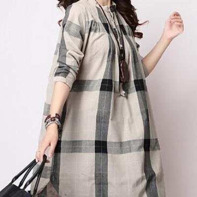TUNIQUE AMPLE LONGUE PLAID FOND BEIGE BOHO BOHEME CHIC F0343