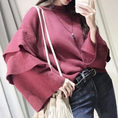 PULL ROUGE FONCE MANCHES VOLANTEES BOHO  BOHEME CHIC M0165