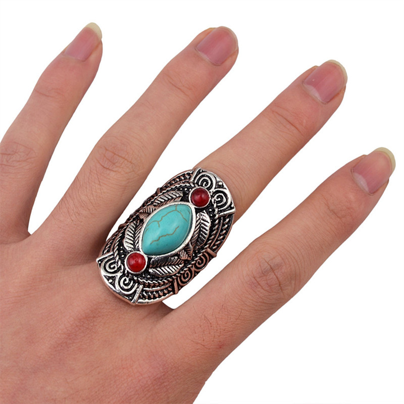 1pc boho women vintage silver plated red turquoise shield carving flower finger ring jewelry retro adjustable