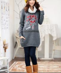 "ROBE PULL SWEAT ""ALL YOU NEED IS LOVE"" HAUTE QUALITE BOHO BOHEME CHIC D0316"