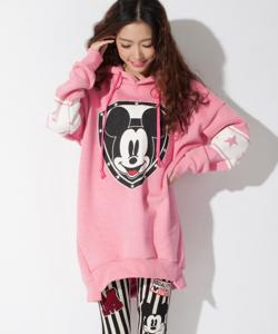 SWEAT TUNIQUE MICKEY CAPUCHE ROSE BOHO BOHEME CHIC M0082