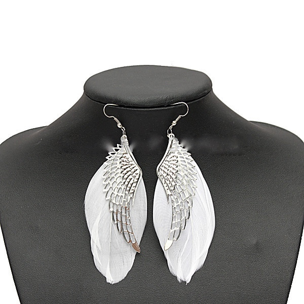 2014 hot selling alloy angel wing feather dangle earring fashion jewelry chandelier drop long earrings for