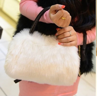 2014 spring winter fashion new hot elegent women s plush handbag faux fur clutch tote hobo