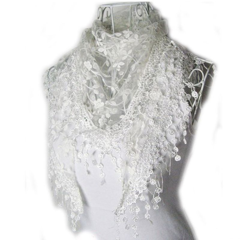 2015 autumn winter lace tassel sheer burntout silk floral design triangle shape mantilla scarf wrap shawl