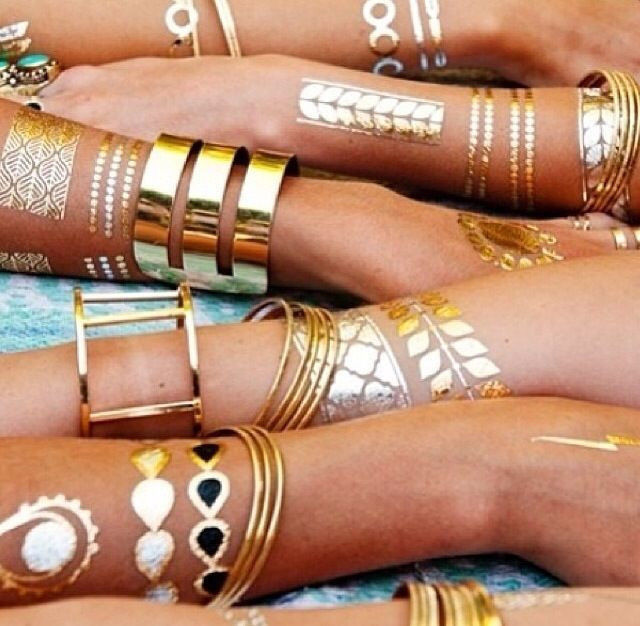 2015 new design tattoo bracelets necklaces gold temporary tattoos sticker sex product metallic tatoos anchor leaf 1