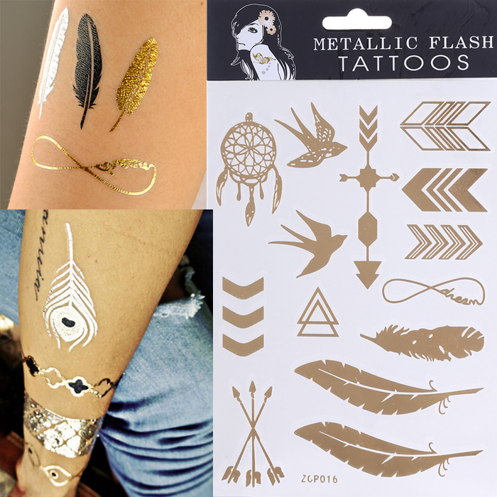 2015 new design tattoo bracelets necklaces gold temporary tattoos sticker sex product metallic tatoos anchor leaf 2