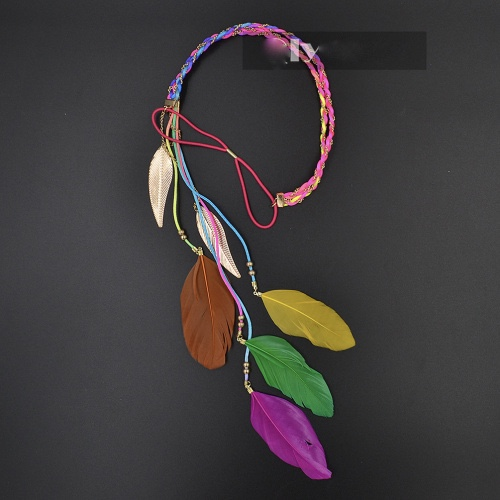 2015 new fashion accessories women golden leaves rope knitted belt elastic hairband colorful feather pendant headband