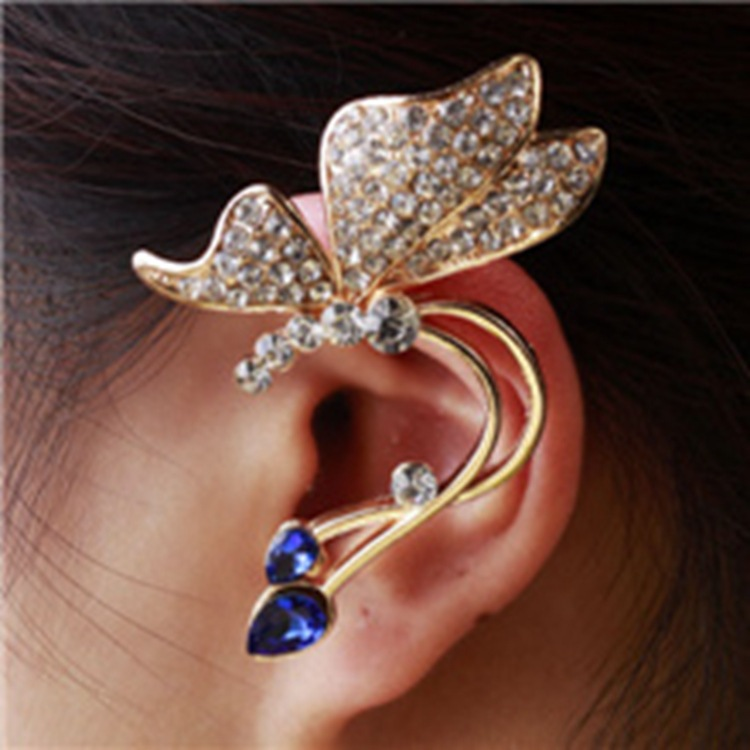 2015 new fashion jewelry retro crystal butterfly flower ear cuff earring clip on for right ear