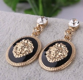 2015 new hot new fashion designer brand black enamel exaggerated rhinestone lion head earrings for