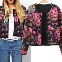 2015 new winter clothing and the wind flower printed quilting coat sweatshirt jacket shirt clip 0425