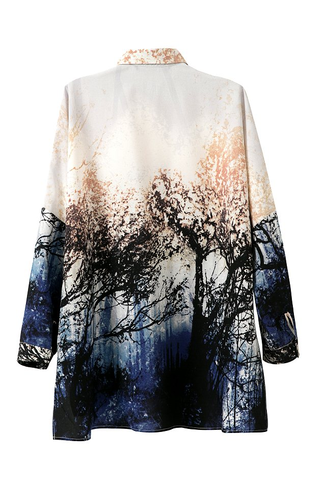 2015 spring summer new european and american style chiffon forest landscapes tree printed over sized blouses 1