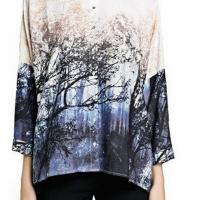 2015 spring summer new european and american style chiffon forest landscapes tree printed over sized blouses