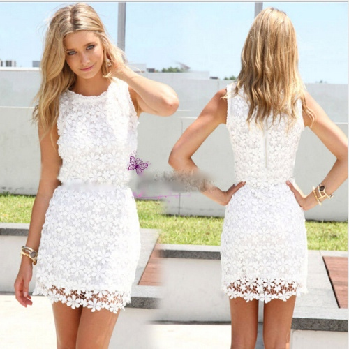 2015 summer sleeveless o neck slim package hip sweet lace vest dress without belt crochet vestidos 3
