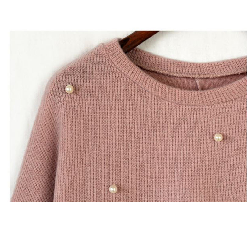 2016 new autumn winter sweater women pearl fashion o neck long sleeve jumper pullovers sweaters women 2