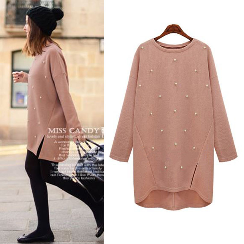 2016 new autumn winter sweater women pearl fashion o neck long sleeve jumper pullovers sweaters women