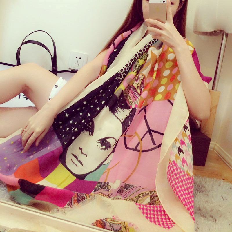 2016 new style scarves cotton polyester winter warm long spain scarf fashion long bohemian shawl