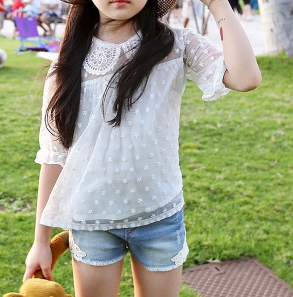2016 summer new korean children s clothing lace sleeve kids t shirt cotton thin good quality