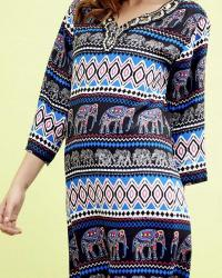ROBE COURTE ELEPHANTS BOHO BOHEME CHIC D1078