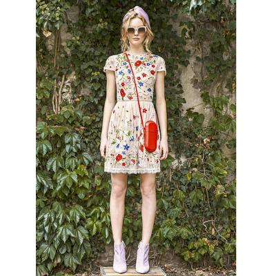 2017 fashion high quality ladies summer dress colorful floral embroidered beige lace dresses o neck a