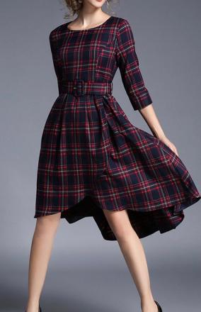 Robe plus longue dos plaid boho boheme chic dress1276