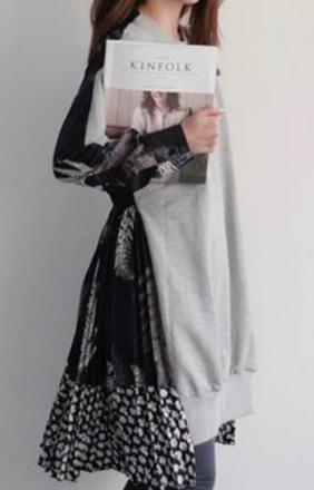 Robe sweater bi matière boho boheme chic dress1277