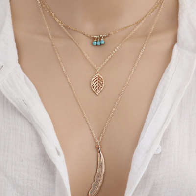 Collier plume feuille turquoises boho boheme chic neck0710