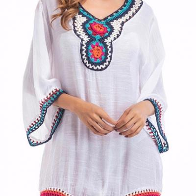 Tunique crochet boho boheme chic TOP0211