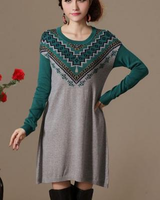 Robe pull imprimé ethnique boho boheme chic dress0506