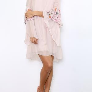ROBE SOIE MANCHES EVASEES BRODEES BOHEME BOHO CHIC D1246